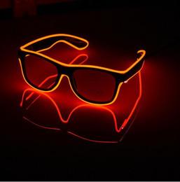 Wholesale Decorative Sunglasses - Flashing EL Wire Led Glasses Luminous Party Decorative Lighting Classic Gift Bright LED Light Up Party Sunglasses 12pcs lot