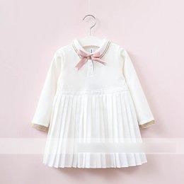Wholesale Girl Princess Dress Up - Kids preppy style dress Girls doll lapel bows lace-up dress Autumn Children long sleeve pleated dress Girls princess Clothing C1448