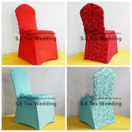 Wholesale Fast Chairs - New Design 3D Satin Rosette Lycra Spandex Chair Cover For Wedding And Event Decoration Fast Door Shipping