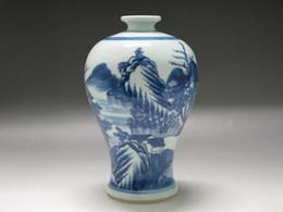 Wholesale Blue White Chinese Porcelain Vases - Chinese Blue and white Porcelain Vase Hand Painted scenery boat Double ring mark