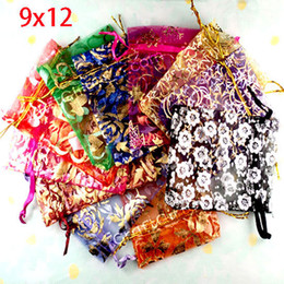 Wholesale Organza Bags 12x9cm - Wholesale- Random100pcs lot Mixed Color 12x9cm Bronzing storage bags Drawable Organza Wedding home & garden Gift Bags&Pouches
