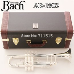 Wholesale Bach Trumpet Mouthpieces - New Silver Bach Trumpet AB-190S Bb Double Silver Plated Trompeta Profissional Instrumentos Leather Case with Mouthpiece