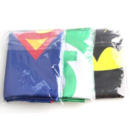 Wholesale Costume Party Spiderman - Gold Hands 70*70 CM Superhero Capes with Masks - Childrens Superhero Spiderman Captain America for Kid's Dress Up Party Free Shipping