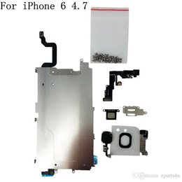 Wholesale Lcd Camera Flex Cable - New LCD Full Small Parts Holding Back Metal Plate For iPhone 5 5S 5c 6 Front Facing Camera+Full Set Screws+Earpiece+Home Flex Cable Assembly