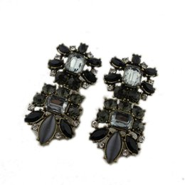 Wholesale Large Gold Stud Earrings - New Brand Gold plated Exaggerated Large Flower Rhinestone Crystal Drop Earrings Female Black Luxury Earring model no. ER725