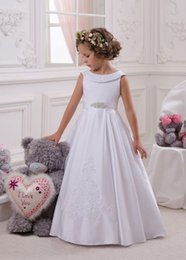 Wholesale Glamorous Flower Girl Dress - Glamorous A-line Satin Flower Girls' Dresses With Bateau Neck Zipper Back And Lovely Bow Lace Appliques Kids Formal Wear