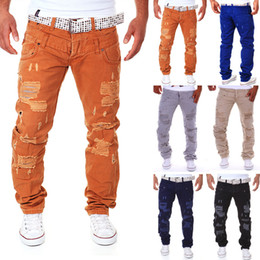 Wholesale Hole Overall - Wholesale- European style men fashion hole Overalls men casual cargopants