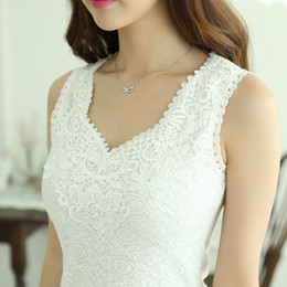 Wholesale Styles Sleeveless Blouse - Autumn Summer Style Women Tops Lace Cotton Chiffon Blouse Shirt For Women White Black Sexy V-neck blusa Femme