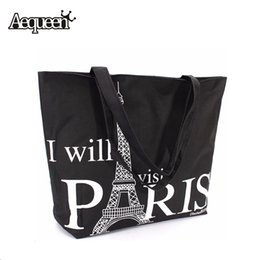 Wholesale Eiffel Shopping Bag - Wholesale-Large Space Women Canvas Handbag Zipper Shopping Shoulder Bag Paris Eiffel Tower Pattern Girls Beach Bookbag Casual Tote Fashion