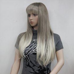 Wholesale Blonde Straight Bangs Wig - New fashion charming health blonde mix and Golden Brown root long straight bangs synthetic women's wigs