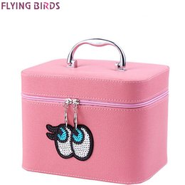 Wholesale Fly Box Case - Wholesale- FLYING BIRDS Cosmetic Bags Box Makeup Bag women cosmetic cases Beauty Case Travel purse Jewelry Display Case on sale LM4246fb