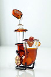 Wholesale Dry Hands - Amber Sherlock hand pipe glass burner Mini Smoking pipe Glass Blunt Pipe short pipes for dry herb