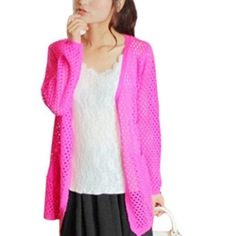 Wholesale Solid Colored Shirts - Wholesale- Spring Summer Sweater Long New Large Size Candy Colored Openwork Knit Cardigan Women Shirt air-conditioned Thin Vestidos LXJ237