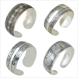 Wholesale christmas cave - idealway Fashion Vintage Silver Plated Caving Flower Bangle Wide Cuff Bracelet can be Adjustable 12pcs lot