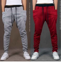 Wholesale Trouser Sweatpants For Men - 6 Color Cheap New 2017 Mens Joggers Fashion Harem Pants Trousers Drawstring Hip Hop Slim Fit Sweatpants Men for Jogging M- XXL
