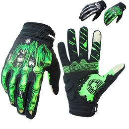 Wholesale Skeleton Touch Screen Gloves - Cycling Gloves Full Finger Touch Screen GEL Skeleton Breathable Gloves Motorbike Guantes Moto Luvas
