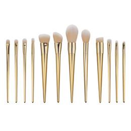 Kits de corrector online-Pincel de maquillaje Set 12pcs Corrector Fundación BB Cream Powder Eyebrow Blush Maquiagen Pincel Maquillaje Golden Tools Kabuki Brush Kits