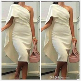 Wholesale High Quality Making Dresses - 2017 One Shoulder Short Party Dresses Sheath Elegant Tea length White Cocktail Dress High Quality Stain Prom Evening Gowns Custom Made
