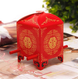 Wholesale Sedan Wedding - Free shipping red bridal sedan chair wedding favor boxes gift box Chinese wedding candy box packing box