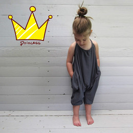 Wholesale Sleeveless O Neck - Girls Kids Onesies Rompers Jumpsuits Overalls for Children Baby Cotton Backless Rompers Jumpsuits One Piece Grey Suspender Overalls Clothes
