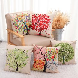 Wholesale Chair Covers Linens - Four color tree hug Pillowcase Cushion covers season charming colorful tree leaves cotton linen 45x45cm pillows cover for sofa couch chair