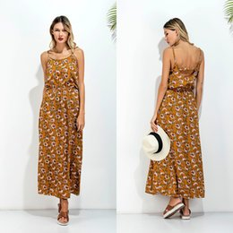 Wholesale Wholesale Vintage Maxi Dresses - Elastic Waist Yellow Vintage Long Sun Dress Round Neck Flower Printing High Waist Suspender Maxi Dress