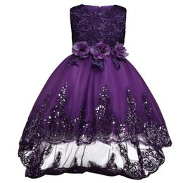 Wholesale Embroidered Sequin Bows - Girl Dress Sequin Petal Princess Dresses Kids Children Clothing Girls Birthday Clothes Wedding Party Dress Girl