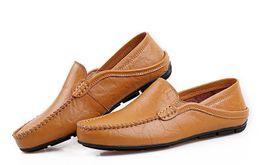 Wholesale Comfy Shoe Brands - Genuine Leather Men Shoes Soft Moccasins Loafers Fashion Brand Men Flats Comfy Driving Shoes man hollow out doug hole hole Shoes Men's Shoe