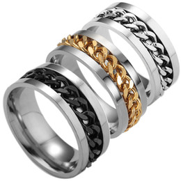 Wholesale Ring Silver Men Rock - Fashion Men Titanium Steel Midi Rings Set Rotatable Stainless Steel Chain Rock Punk Men Finger Jewelry