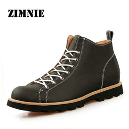 Wholesale Comfortable Boots For Men - Wholesale-ZIMNIE New Fashion Mens Leather Shoes Waterproof Men Boots Comfortable Genuine Leather Boots Quality Autumn Ankle Boots For Men