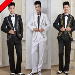 Wholesale Host Studios - Wholesale- free shipping 2016 Mens wedding groom dress suits with silver or gold line costume studio host one button stage show suits white