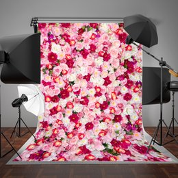 Wholesale Paint Photo Backdrop - 5x7ft(150x220cm) White and Red Flowers Photography Backdrops for Birthday Photo Studio Background