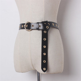 Wholesale Leather Belt Metal Rings - Wholesale- Brief Vintage Fashion Women Belts 2017 European Newly Ring Metal Pin Buckle Leather Belt Female Adjustable Strap 63296