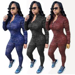Wholesale Women Tight Collar - Europe And The United States Style Ultra-Flexible Fashion Women Two Piece Pants Colorful Flower Cotton Suits Tight-Fitting Sports Suits