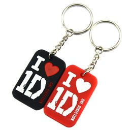 Wholesale Rubber Dog Tags - Wholesale Shipping 50PCS Lot I Love 1D Fashion Silicon Dog Tag Keychain 4 Colours For Music Fans