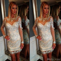 Wholesale White Fully Beaded Sheath Gown - Sheer Scoop Neck Sheath Cocktail Party Dresses With Fully Crystal Short Mini African Middle East Prom Gowns Long Sleeve Girls Birthday Dress