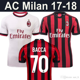 Wholesale Men Short Catsuit - 17 18 AC MILAN away white soccer jersey MENEZ BACCA KAKA HONDA DEULOFEU SUSO LAPADULA home red football jerseys shirt top quality