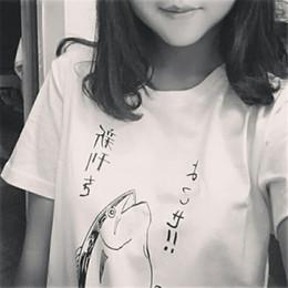 Wholesale Fish Gun Fishing - Wholesale-new 2016 gun fish print fashion t-shirt women short-sleeve Simple fresh tops HARAJUKU tees woman t shirt Women's Clothing