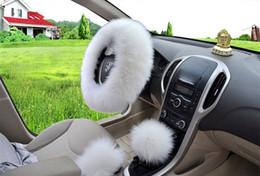 """emblème d'octavie Promotion Livraison gratuite hiver chaud pure laine frein à main couverture couvercle de vitesse couverture couvercle volant 14.96 """"x 14.96"""" 1 Set 3 Pcs"""