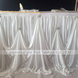 Wholesale hot events - Hot Sale 2 pcs 3m L * 29 Inch H New Design Luxury Diamond Pearl Brooch Ice Silk Table Skirting Table Skirt For Wedding Event Decoration