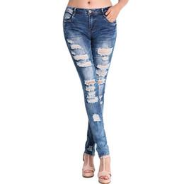 Wholesale Vintage Wash Jeans Women - Wholesale- New 2017 Fashion Pants Jeans Women Hole Stretch Cotton Ripped Jeans Skinny Jeans For Women