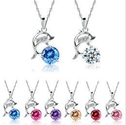 Оптовая Циркон Алмаз Дельфин ожерелье кулон, ключицы цепи, Дельфин bay Кристалл ожерелье кулон, 7 цветов, бесплатная доставка от