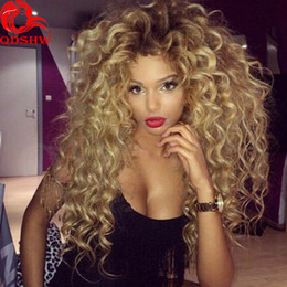 Wholesale Virgin Lacefront Wigs - Ombre Kinky Curly Human Hair Wig Blonde Dark Root Glueless Lacefront Ombre Wigs Human Hair Brazilian Virgin Full Lace Big Blonde Curly Wig