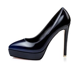 Wholesale New Womens Shoes Wedge Heel - 2016 New Fashion Womens Ladies Stiletto High Heels Office Dress Work Court Patent Leather Wedges Platform Pumps 7Color Free Shipping