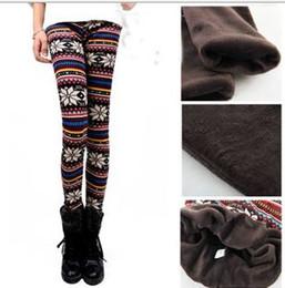 Wholesale Winter Print Fleece Leggings - Wholesale- Classic winter women print flower fleece lined leggings woman super warm fleece legging top quality youth lady pants outwears