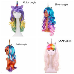 Wholesale Halloween Party Wigs - Colorful Unicorn Wig Halloween Decoration Bachelorette Party Decoration Unicorn Party Craft Supplies Christmas Decoration CCA7588 10pcs