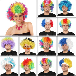 Wholesale Cheap Wholesale Cosplay - Fans Exploded Head cosplay cheap Afro wig Harajuku Anime Party Wig Oversized Multicolour synthetic wigs For Ball Fans Festival Carnival wigs