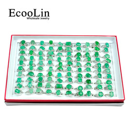 Wholesale crystal stones bulk - EcooLin Brand Green Emerald Natural Stone Silver Plated Women Rings For Woman Fashion Wholesale Jewelry Bulks Lots Christmas Gift LR4007