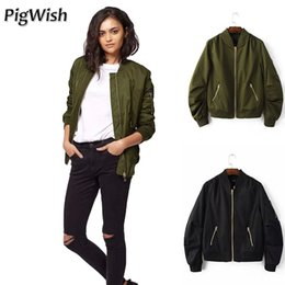 Wholesale Vintage Womens Jacket - 2017 Autumn Bomber Jacket Women Collar Basic Coats Long Sleeve Baseball Jackets Womens Blue Army Green Coat Female Jacket