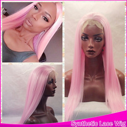 Wholesale Pink Cosplay Wig Long - New Sexy Style Cosplay Pink Silky Straight Long Hair Glueless Synthetic Lace Front Wigs for Black Women Heat Resistant 150% density